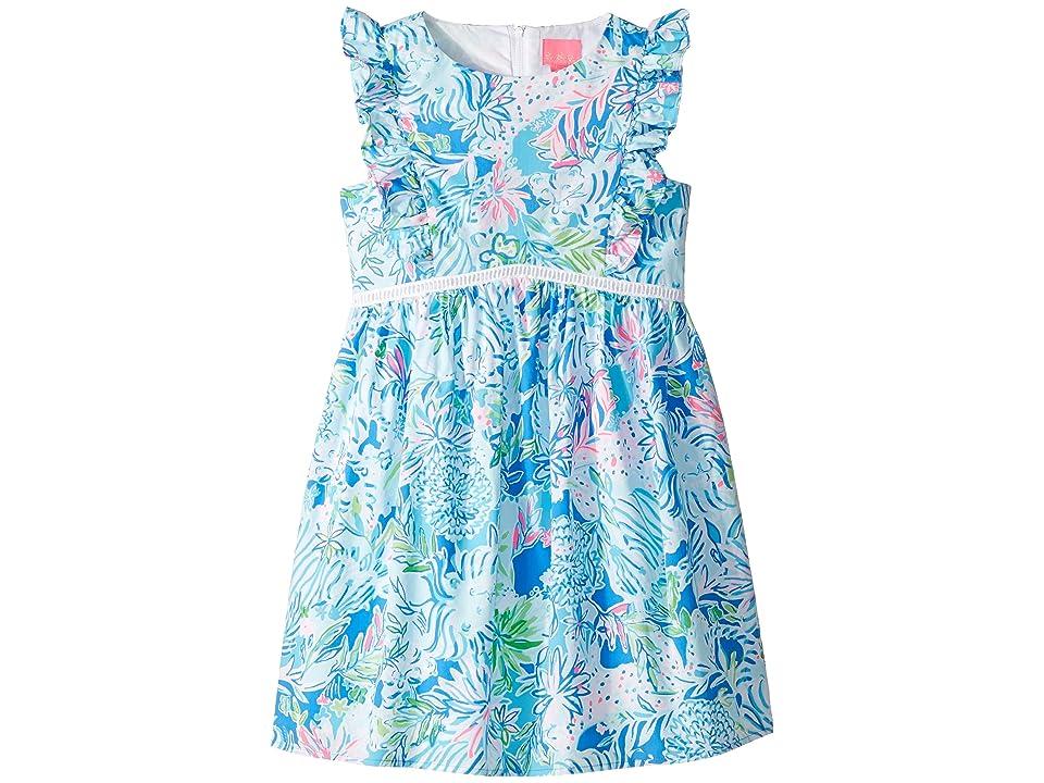 Lilly Pulitzer Kids Madelina Dress (Toddler/Little Kids/Big Kids) (Coastal Blue Lion Around) Girl