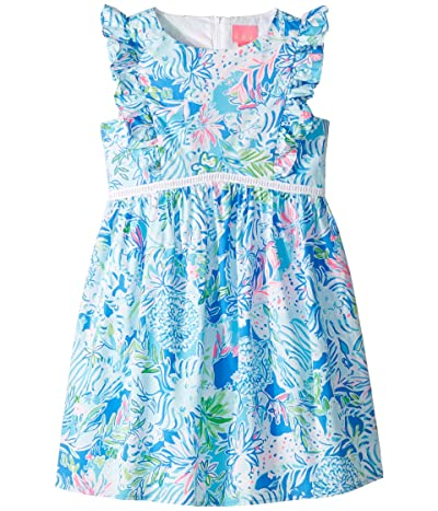 Lilly Pulitzer Kids Madelina Dress (Toddler/Little Kids/Big Kids) (Coastal Blue Lion Around) Girl