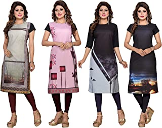 Ty Women's Crepe Straight Kurtis ( DP-10-11-12-13, Multicolor, X-Large)