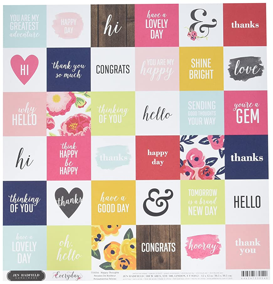 American Crafts 733054 25 Sheet Happy Thoughts Jen Hadfield Everyday Double-Sided Cardstock, 12
