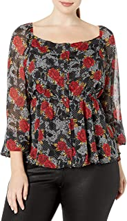 City Chic Women's Apparel Women's Plus Size Floral top with Sheer Sleeves and Fitted Waist, Affair