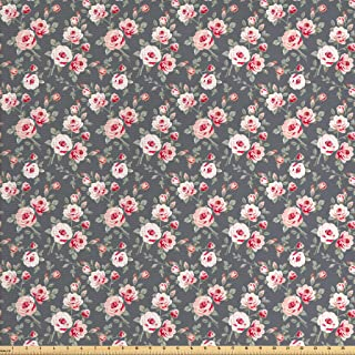 Ambesonne Shabby Flora Fabric by The Yard, Vintage Style Vibrant Roses Leaves Bush Buds Stems Rural Area Classical, Decorative Fabric for Upholstery and Home Accents, 3 Yards, Grey Taupe