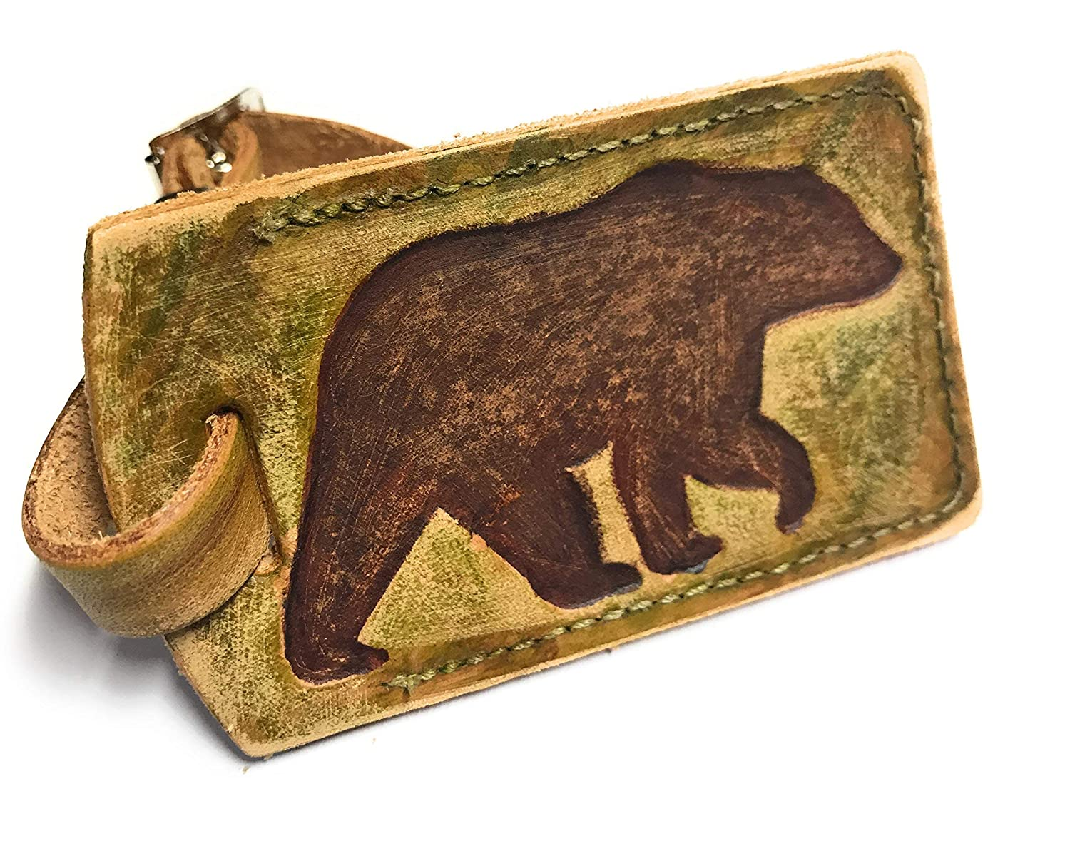 Rustic Product Bear Max 76% OFF Leather Tag Luggage Hunter
