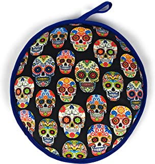 Cloth Tortilla Warmer 11.5 Inch, Insulated and Microwavable Tortilla Holder Pouch, Mexican Tortillero – Keeps Tortillas Warm for up to One Hour – Made in Mexico (Skulls)