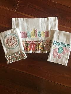 Monogram Burp Cloths Baby Girl Burp Cloth Sets Personalized Burp Cloths