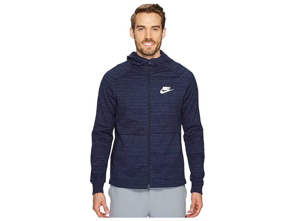 Nike Sportswear Advance 15 Full-Zip Jacket (Obsidian/Heather/Obsidian/White) Men