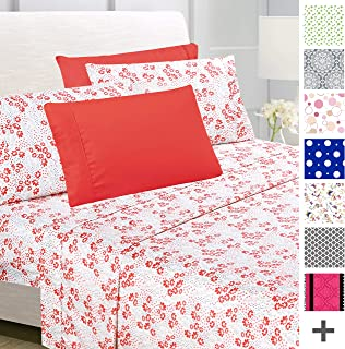 American Home Collection Deluxe 6 Piece Printed Sheet Set of Brushed Fabric, Deep Pocket Wrinkle Resistant - Hypoallergenic (Twin, Peach Floral)