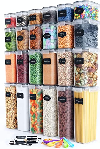 2021 Airtight Food Storage Container popular Set - 24 Piece, Kitchen & Pantry Organization, sale BPA-Free, Plastic Canisters with Durable Lids Ideal for Cereal, Flour & Sugar - Labels, Marker & Spoon Set outlet sale