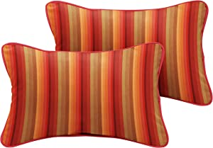 "Mozaic Company Sunbrella Indoor/ Outdoor 18"" x 12"" Corded Lumbar Pillows, Astoria Sunset Stripe and Dupione Crimson, Set of 2"