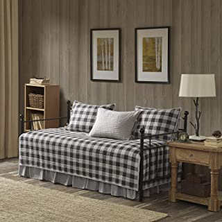 Woolrich Buffalo Check Daybed Size Quilt Bedding Set - Gray, Checker Plaid – 5 Piece Bedding Quilt Coverlets – 100% Cotton Bed Quilts Quilted Coverlet