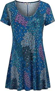BEPEI Womens Tie Dye Tunic Shirts Short Sleeves Scoop Neck Summer Flowy Tops