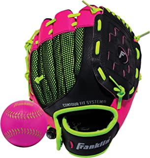 Franklin Sports Teeball Glove - Left and Right Handed Youth Fielding Glove - Neo-Grip - Synthetic Leather Baseball Glove - 9.0 Inch - Ready To Play Glove with Ball