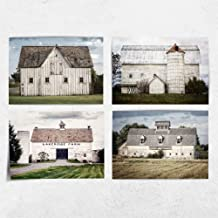 "Country Farmhouse Home Decor Set of 4 5x7"" White Barn Prints (Not Framed). Rustic Landscapes in Blue, Off-White, Gray, Green. (FBA45)"