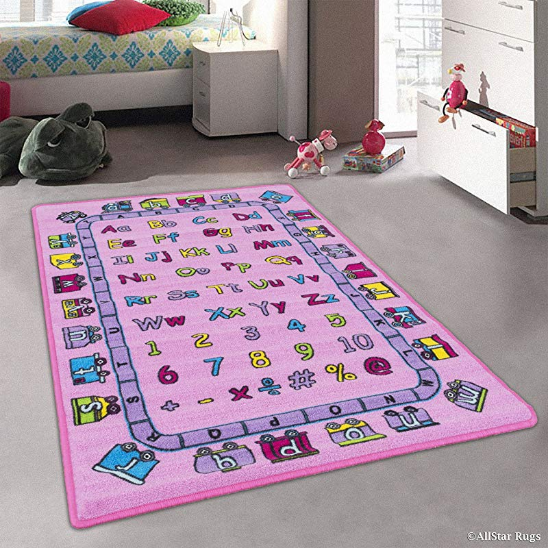 Kids Baby Room Daycare Classroom Playroom Area Rug Alphabet Letters Numbers Educational Fun Pink Purple Bright Colorful Vibrant Colors 5 Feet X 7 Feet