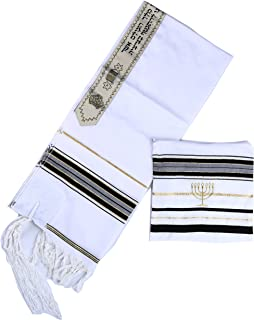 """Star Gifts Acrylic Tallit Prayer Shawl in Black with Gold Size 22"""" L X 72"""" W with Menorah Bag"""