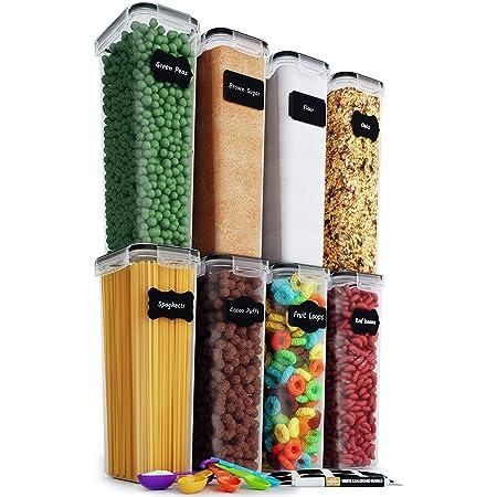 Chef's Path Boîte de Rangement Cuisine Lot de 8 Bocaux Hermetiques Alimentaires pour Stocker Spaghettis Pâtes Farine Céréales - Conservation des Aliments Animaux de Compagnie Sans BPA (2,8L)
