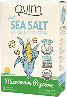 Quinn Snacks Microwave Popcorn - Made with Organic Non-GMO Corn - Just Sea Salt, 7 Ounce (Pack of 1)