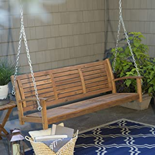 Swing, Porch Swing, Yard Swing, 5 Ft., Outdoor Horizontal Slat Back Porch Swing Crafted From Premium Acacia Wood In Natural Finish