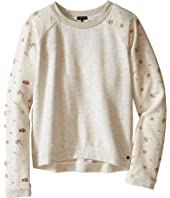 IKKS - Knit Pullover Sweatshirt with Printed Sleeves & Sequined K Patch on Chest (Little Kids/Big Kids)