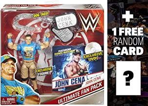 WWE John Cena w/ Dog Tags & DVD Ultimate Fan Pack Action Figure + 1 Free Official Trading Card Bundle