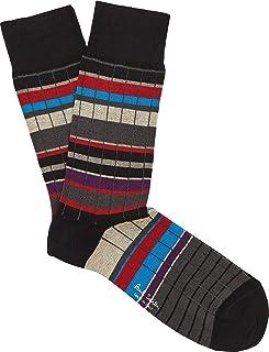 "PAUL SMITH ""Ralph Rib"" Mens Cotton One Size Socks Multicoloured Black, Red, Grey & Blue Stripes"
