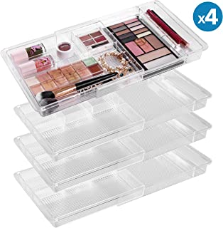 "MoMA Expandable Makeup Organizer - 11""x 7.7""x 1.2""Adjustable Makeup Brush Organizer (4 Packs) - Clear Plastic Makeup Organizer for Bathroom Drawers, Vanities, Countertops - Scalable Cosmetic Organizer"