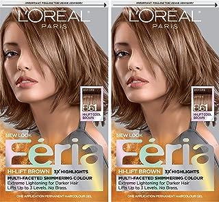 L'Oréal Paris Feria Multi-Faceted Shimmering Permanent Hair Color, B61 Downtown Brown, 2 COUNT Hair Dye