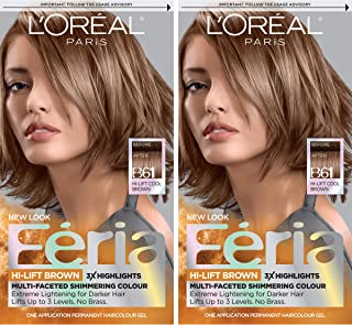 L'Oréal Paris Feria Multi-Faceted Shimmering Permanent Hair Color, B61 Downtown Brown, 2 COUNT Hair Dye
