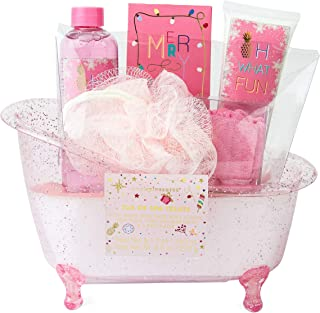 Simple Pleasures Tub Of Festive Spa Treats Gift Set With Sugar Frosting Scented Body Wash, Bath Salt Crystals, Body Lotion, Mesh Pouf, Spa Head Band In A Decorative Bathtub Shaped Display Caddy