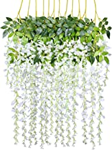 12 Pack 3.6 Feet/Piece Artificial Fake Wisteria Vine Ratta Hanging Garland Silk Flowers String Home Party Wedding Decor (White)