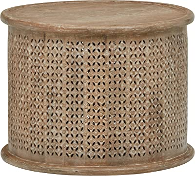 "Amazon Brand – Stone & Beam Commodore Casual Round Coffee Table, 23.6""W, Whitewash Mango Wood"