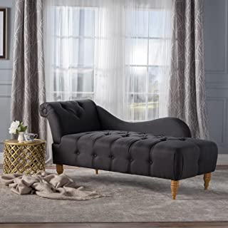 Christopher Knight Home 300525 Antonya Plush Tufted Traditional Chaise Lounge (Dark Charcoal Fabric)