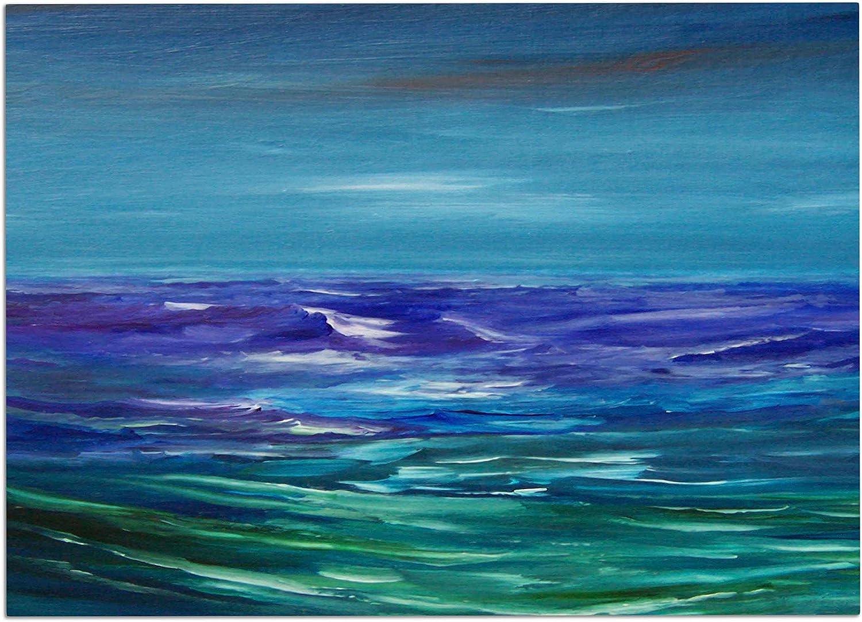 KESS InHouse CS2003ADM02 Cyndi Steen Moonlit Waves bluee Purple Dog Place Mat, 24  x 15