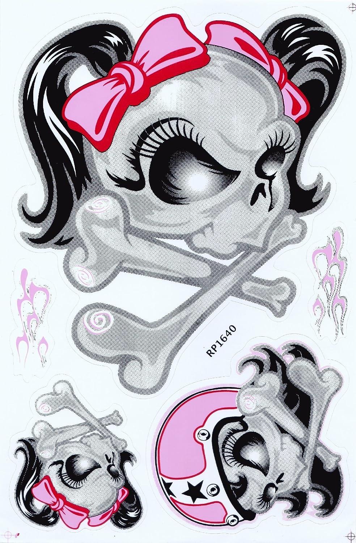 Jab Aufkleber Sticker Female Totenkopf Mit Schleife Skull Racing Femme Fatal Biker 1 Bogen 26 5 X 17 5 Cm Variante 1 Auto