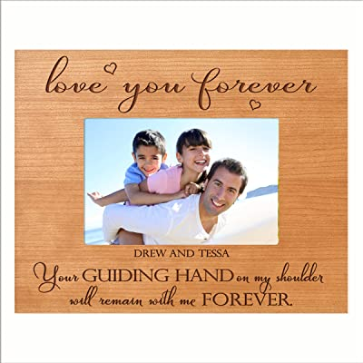 LifeSong Milestones Personalized Gifts for dad Engraved Birthday Gifts for dad Custom Picture Frame Your Guiding Hand on My Shoulder Will Remain with me Forever (5x7, Cherry)