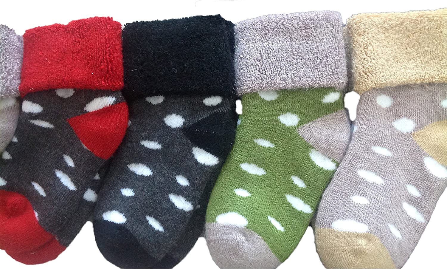 Lovely Annie 4 Pairs Children Wool Dotted Socks Girl 12M-36M Random Color