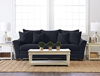 """Klaussner Home Furnishings Paxton Sofa with 4 Throw Pillows, 44""""L x 99""""W x 31""""H, Indigo"""