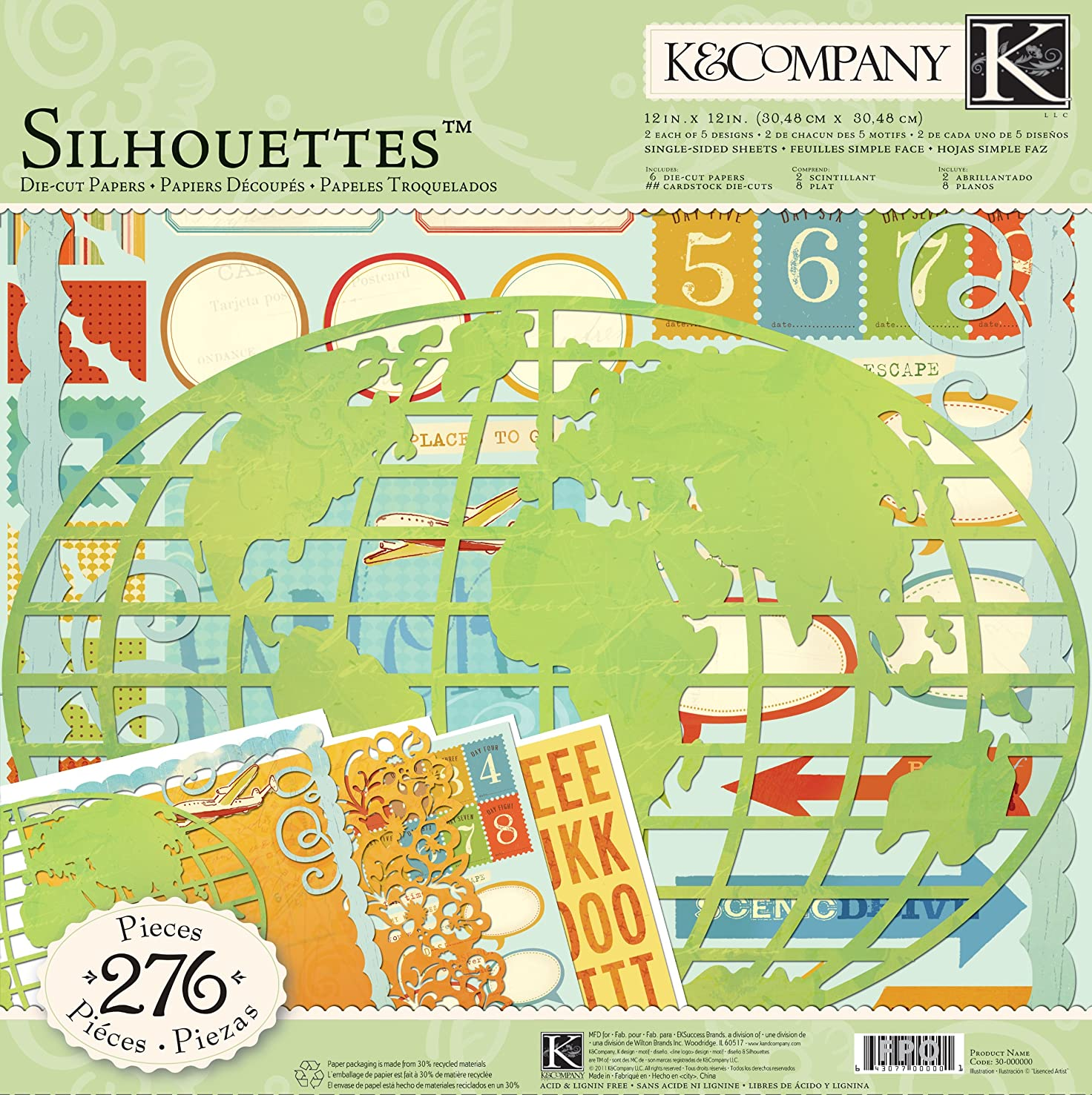 K&Company Brenda Walton Around The World 12-by-12-Inch Silhouette and Die-Cut Pack