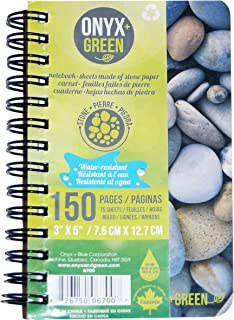 Onyx and Green Notebook, 3 x 5 Inches, Side Coil, 75 Ruled Sheets, Stone Paper, (6700)