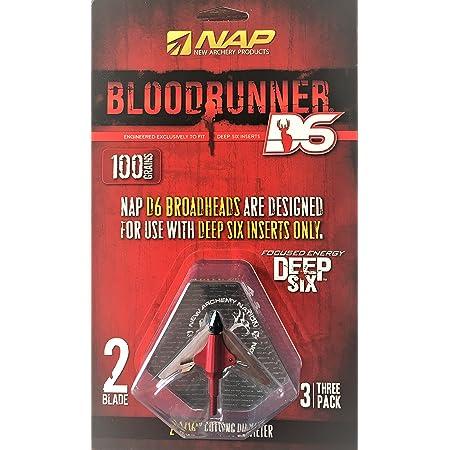 6 x broadheads NAP bloodrunner 2 blade 100 grain large tête pour arbalètes NOUVEAU UK