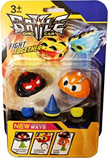 MagicToyz Spinning Car Toy, Battle Gyro Spinner Top, Battle Car Fidget Toy (2 Cars in 1 Pack (Orange and Black))