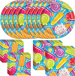 Unique Popsicle Party Dinnerware Bundle | Napkins & Plates | Great for Ice Cream Treat Themed Party, Kids Birthday Party, Hawaiian, Beach, Pool, Summer