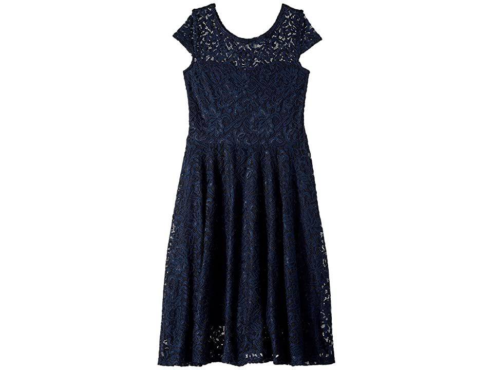 fiveloaves twofish Aurora Lace Skater Dress (Little Kids/Big Kids) (Navy) Girl