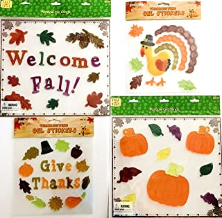 Assorted Variety Harvest Gel Clings: Fall Picnic Basket Pumpkins Farm Sign Sunflowers Decorations for Home Office Windows Mirrors and More (Harvest Patch)