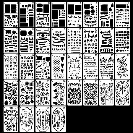 Lot de 36 pochoirs de journal réutilisables pour travaux manuels, sculpture, lettres, pochoirs alphabet, scrapbooking, accessoires de scrapbooking