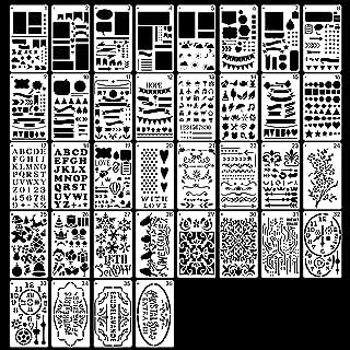 Lot de 36 pochoirs de journal réutilisables pour travaux manuels, sculpture, lettres, pochoirs alphabet, scrapbooking, acc...