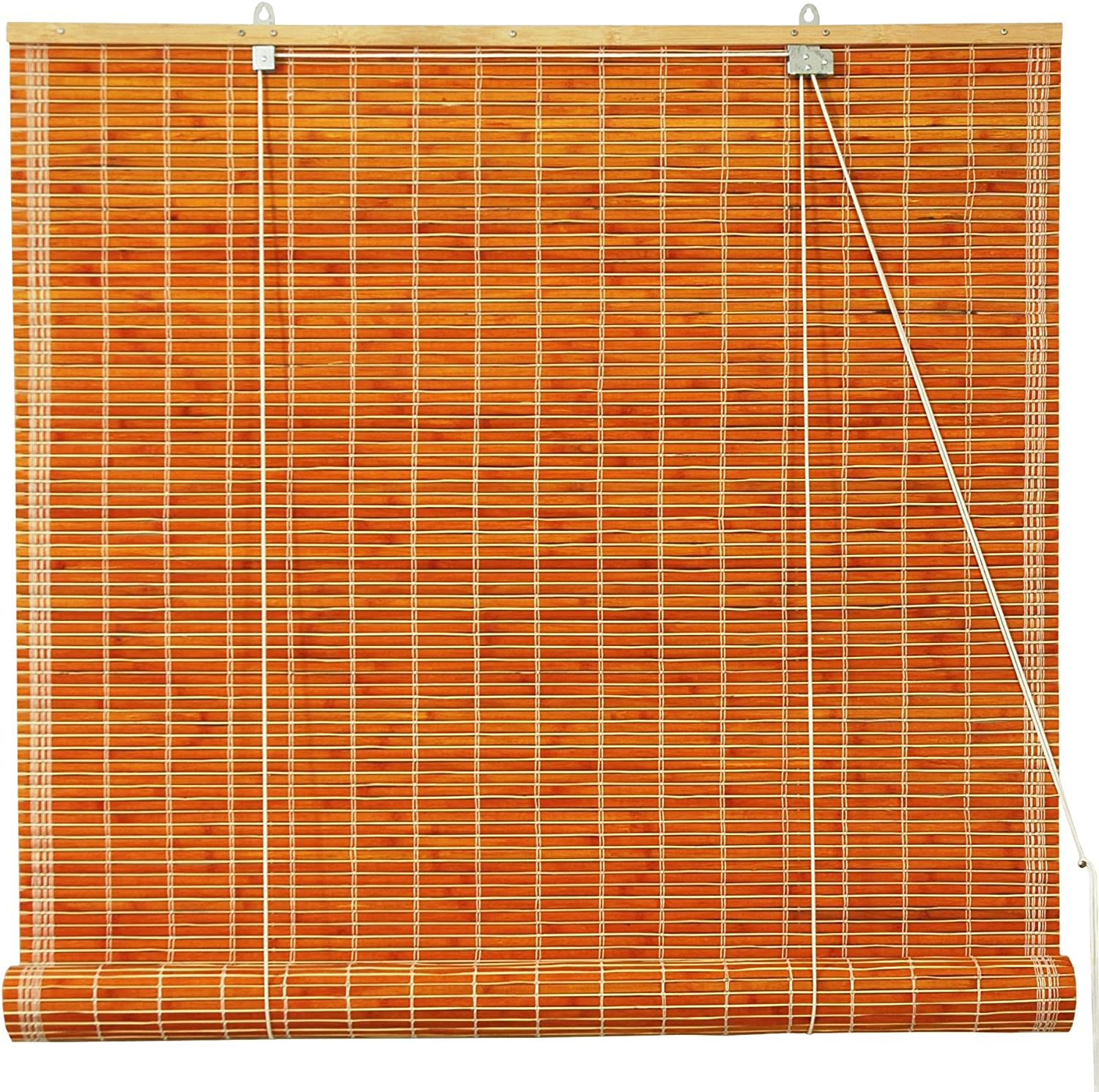 Oriental Furniture Burnt Bamboo Roll Up Window Blinds, Honey, 48Inch Wide