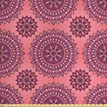 Ambesonne Purple Mandala Fabric by The Yard, Filigree Artwork Inspired Bohemian and..