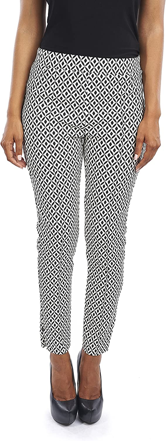 Joseph Ribkoff Ankle Length Diamond Pattern Slim Fit Stretch Pant  Style 163852