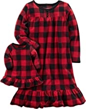 Carters Girls Microfleece Nightgown and Doll Gown Red Black Check 3T
